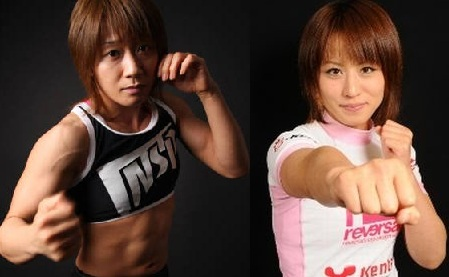 Megumi Fujii (23-1) vs. Mika Nagano (8-4) (Fotos via MMAmania.com/joshipuroresu.blogspot.com)