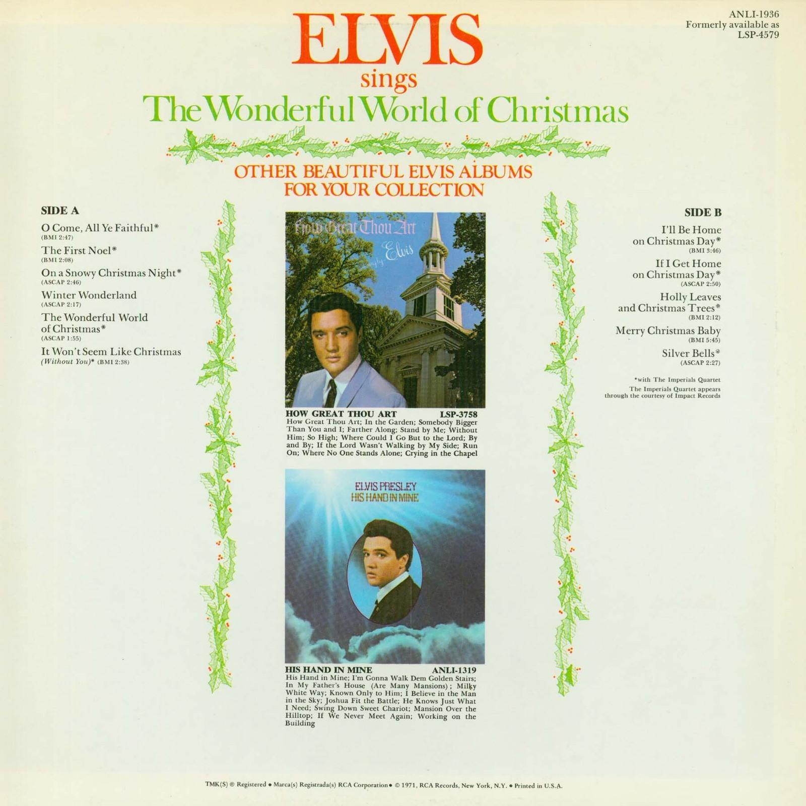 ELVIS SINGS THE WONDERFUL WORLD OF CHRISTMAS 0250slu