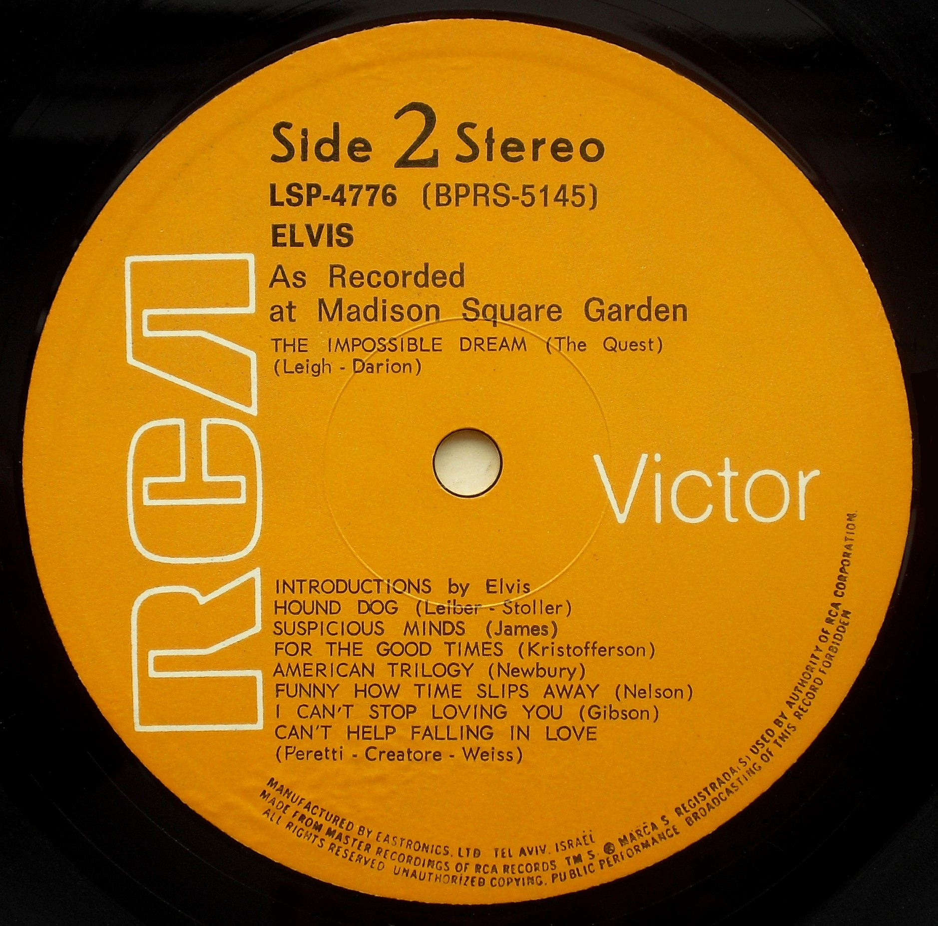 ELVIS AS RECORDED AT MADISON SQUARE GARDEN 03s2pvsek