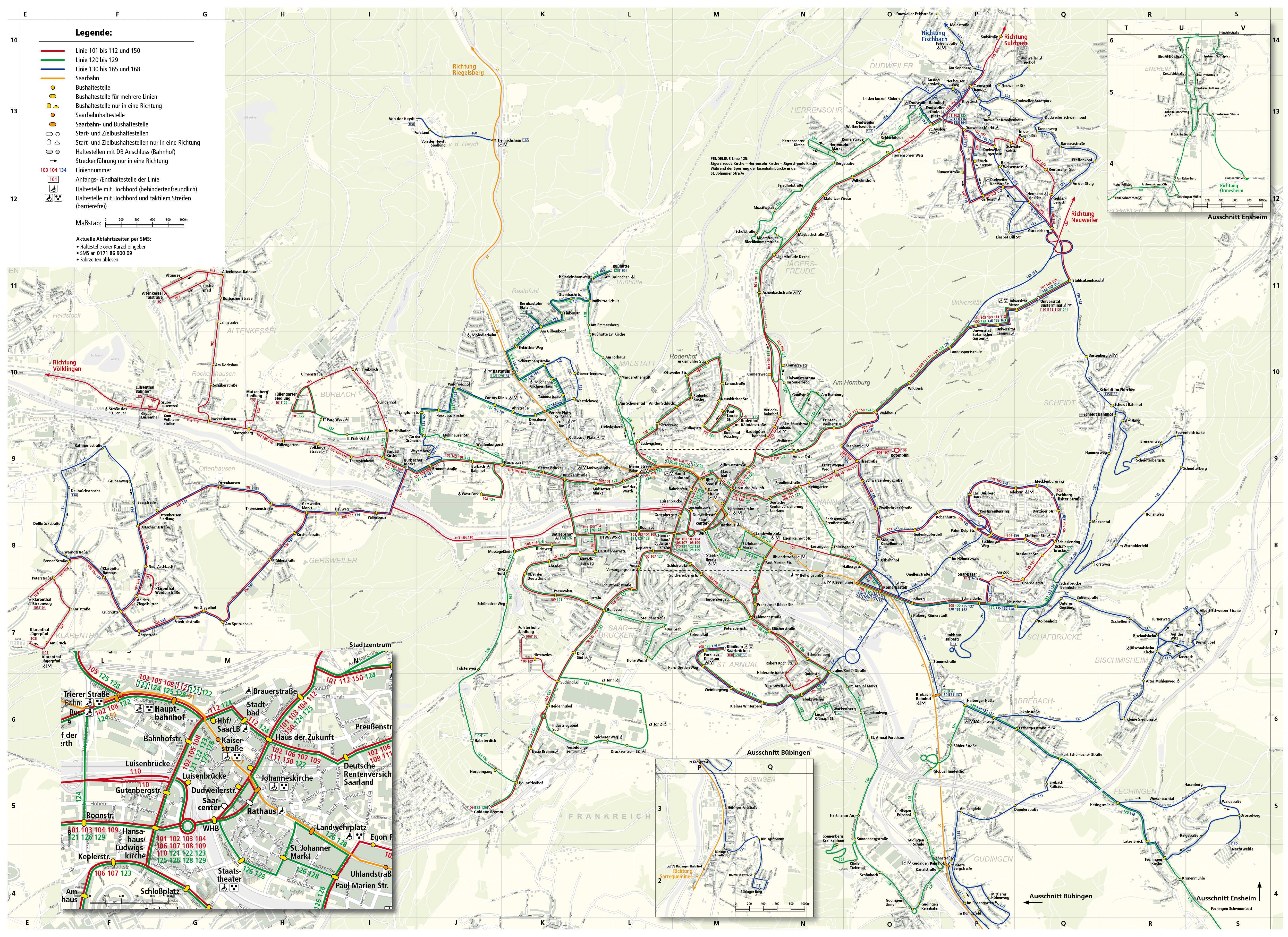 Public transport map of Saarbrcken Germany 5000 x 3638 MapPorn