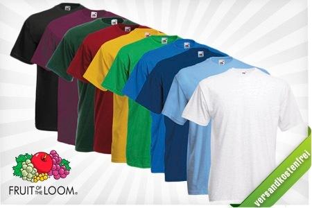 Groupon: 10er Pack Fruit of the Loom T-Shirts für nur 22,22€ inkl. Versand - versch. Farben