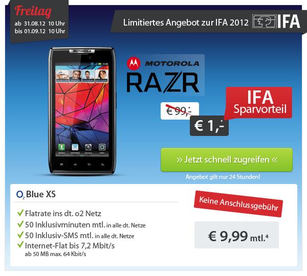 sparhandy: Motorola RAZR mit o2 Blue XS Vertrag für effektiv nur 240,76€ - Schubladenvertrag (Internet Flat, 50 SMS&Minuten) mit Android Smartphone
