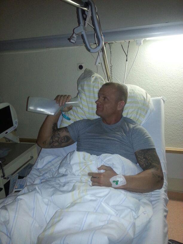 Oschmann beim Krankenhausaufenthalt. (Foto: Hendrik Oschmann)