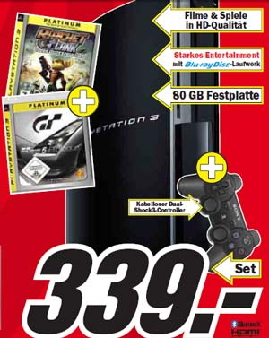 Playstation 3 mit 2 Spielen für 339 € bei MediaMarkt media markt  33937vm