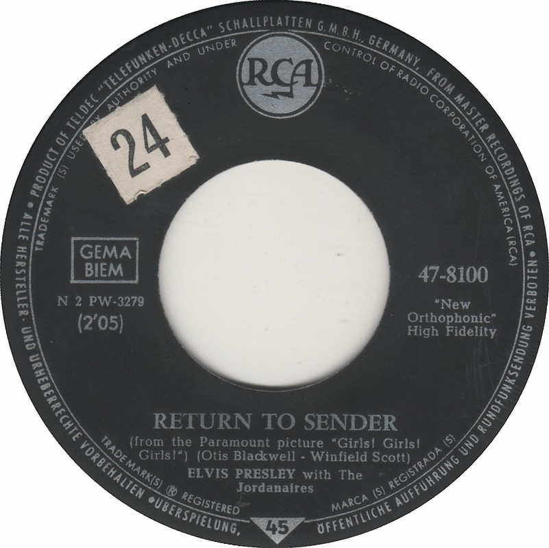 Return To Sender / Where Do You Come From 47-8100-3p0f4g
