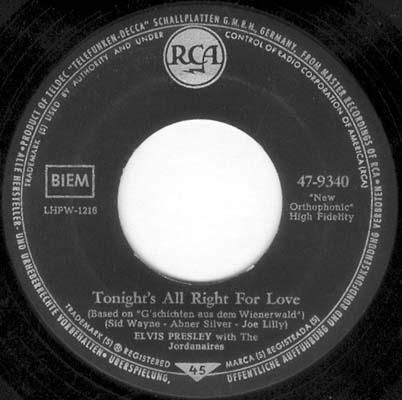 Wooden Heart (Muß I Denn) / Tonight's All Right For Love (G'schichten Aus Dem Wiener Wald) 47-9340-4stu6v