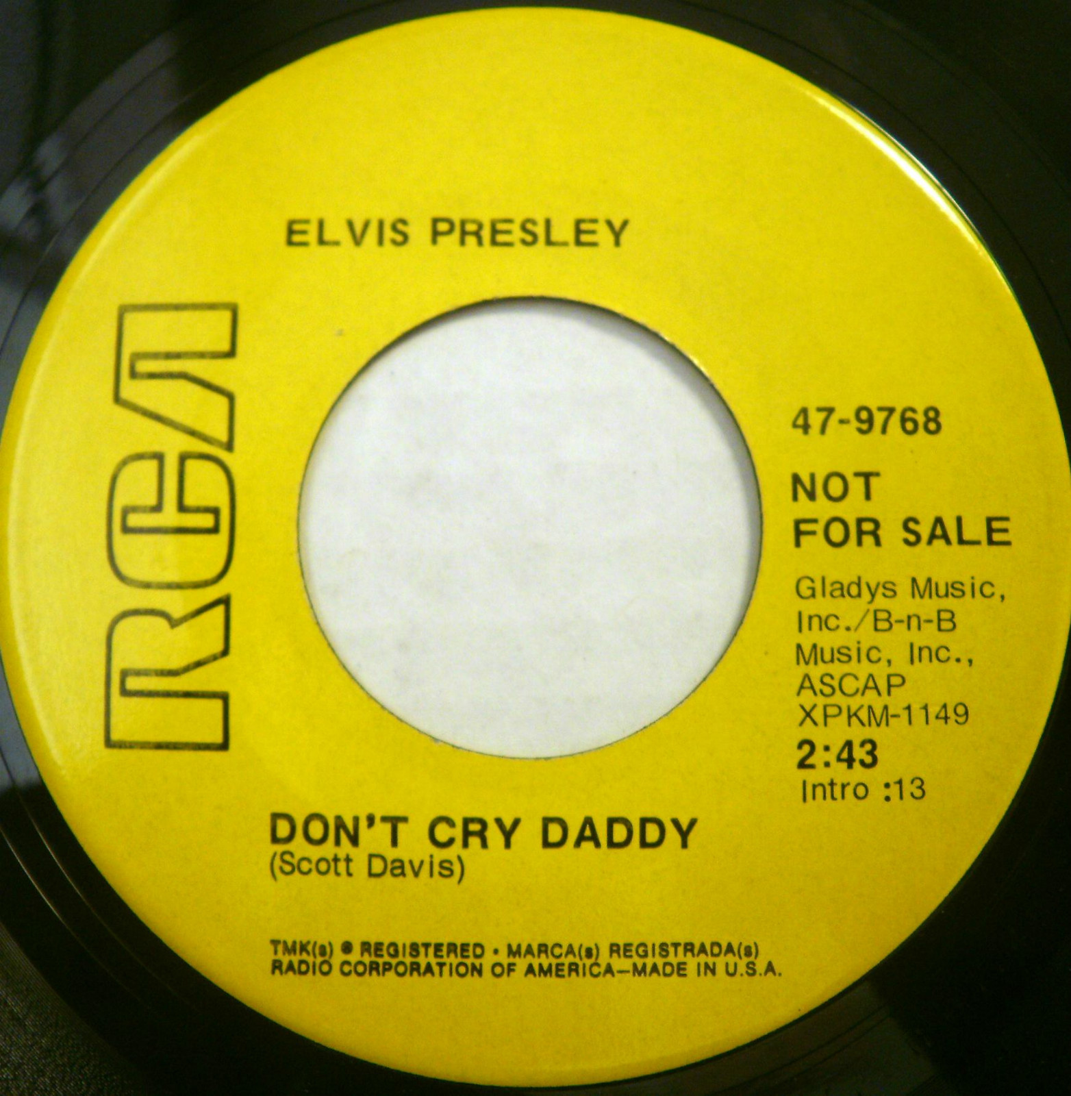 Don't Cry Daddy / Rubberneckin' 47-9768byjow2