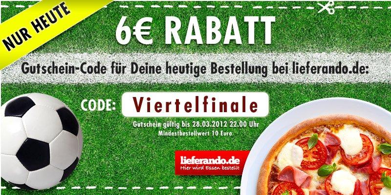 lieferando: Hunger? Heute Abend von 18-22 Uhr mit 6€ Gutschein beim Lieferservice sparen! (für alle!)