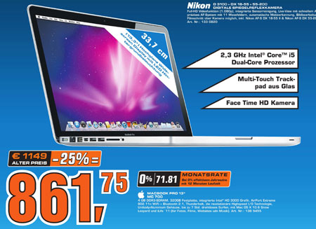 saturn m nchen apple macbook pro 13 3 early 2011. Black Bedroom Furniture Sets. Home Design Ideas