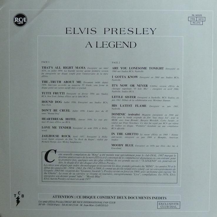ELVIS PRESLEY - A LEGEND Alegend87rckseite96uw3