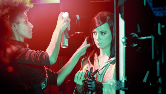 Alizée during shooting of the clip