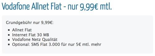 Vodafone Allnet-Flat 9,99 Euro