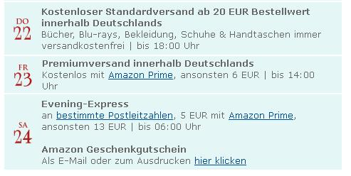 Amazon Lieferfrist