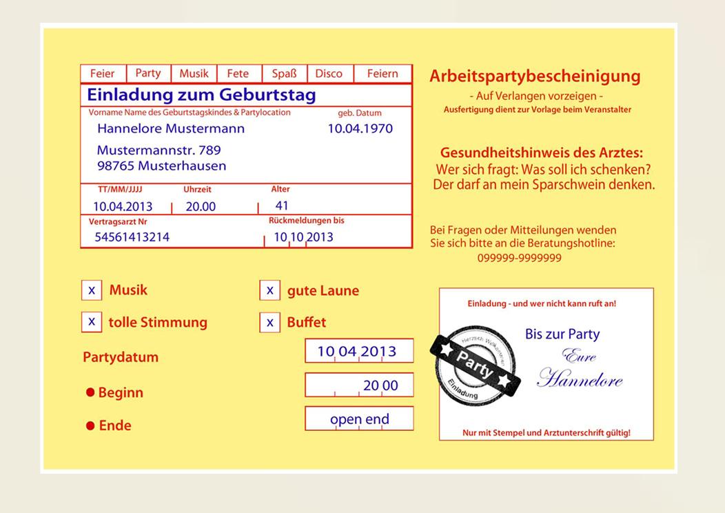 einladungskarten zum geburtstag - witzig & originell, Einladungsentwurf