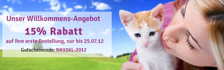 katzenland.de/hundeland.de: 15% Rabatt auf alles! Tiernahrung, Katzenfutter, Katzenstreu, Hundefutter usw.