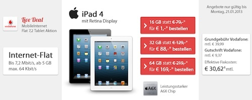 bester tarif ipad 41zut8 Bester Tarif Ipad 4 bei Sparhandy fr einmalig 1,00 Euro