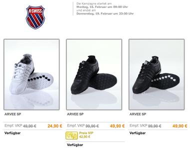 buyVIP KSWISS-Verkaufsaktion