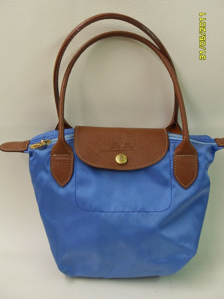 kleine longchamp tasche handtasche blau cognac ebay. Black Bedroom Furniture Sets. Home Design Ideas