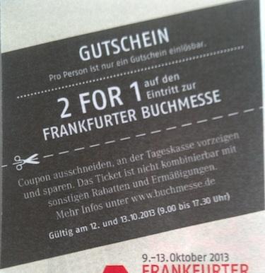 Buchmesse Frankfurt - 2 für 1 Gutschein