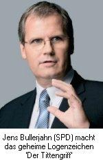 Jens Bullerjahn (SPD) macht das geheime Logenzeichen 'Der Tittengriff'