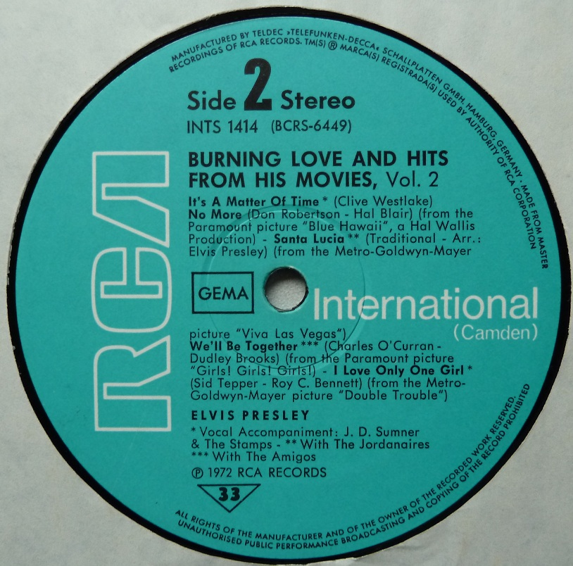 BURNING LOVE and HITS FROM HIS MOVIES Vol.2 Burninglove72side23lbd4