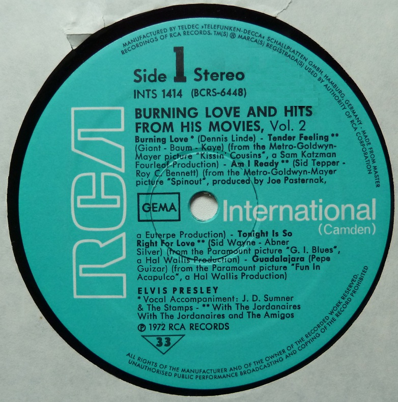 BURNING LOVE and HITS FROM HIS MOVIES Vol.2 Burninglove76side1nax69