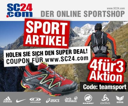 DailyDeal: 60€ Gutschein für SC24.com nur 22,49€ - JETZT: 4 für 3 Aktion - nur noch 18,74€ pro Stück! Marken-Sportklamotten und Schuhe!