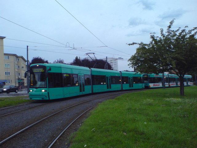 S Wagen Doppeltraktion An Der Louisa Straßenbahn Frankfurt