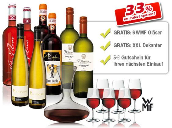 ebrosia.de: Osterweinpaket - 8 Flaschen Wein + 6 WMF Sommelier Gläser + 750ml Dekanter für nur 57,87€ inkl. Versand! (nur 150 Stk!)