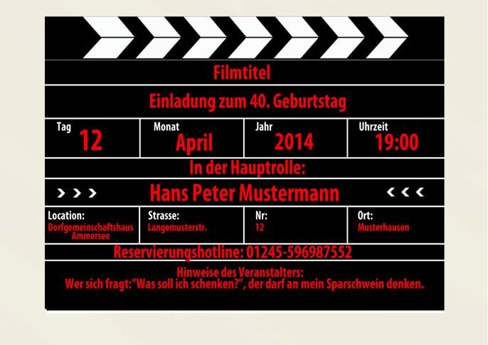 Filmklappe Als Einladung Einladungskarten Geburtstag, Einladung