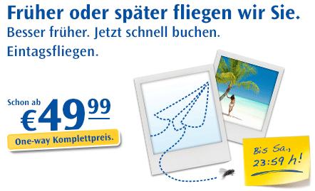Condor Eintagsfliegen: 100.000 Flüge ab 49,99€ inkl. Steuern + Gebühren auf vielen Strecken!