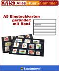 50 Einsteckkarten A5 mit Rand 4 Streifen á 17mm