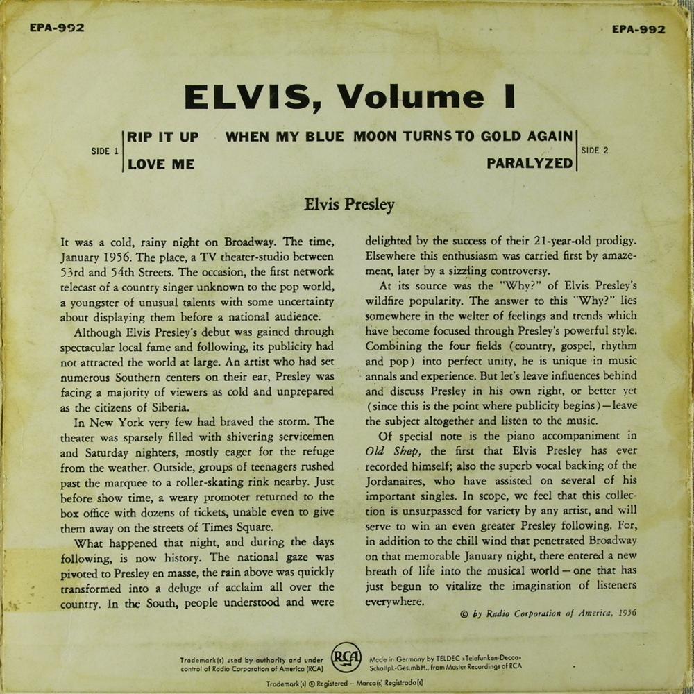 ELVIS VOL. 1 Epa992b94u3r