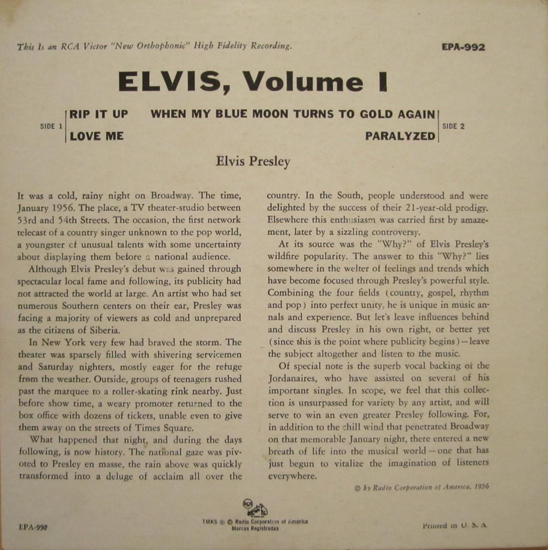 ELVIS VOL. 1 Epa992bjcsaz