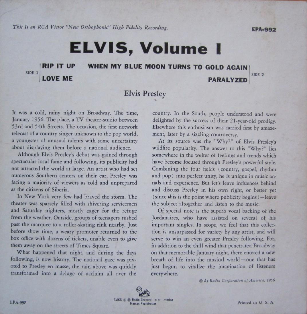 ELVIS VOL. 1 Epa992f85sv5