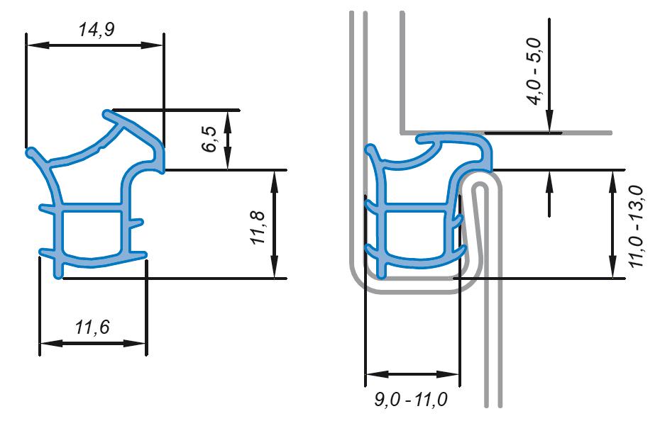 Stahlzarge maße  Primo Universal Dichtung für Stahlzarge Ferrum 911 14,9 x 17,1 mm ...