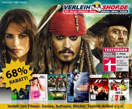 DailyDeal: 26€ Gutschein für verleihshop.de für nur 9€ - DVD/Blu-ray/Games Online Videothek! - Neukunden bekommen sogar 34€ Guthaben!