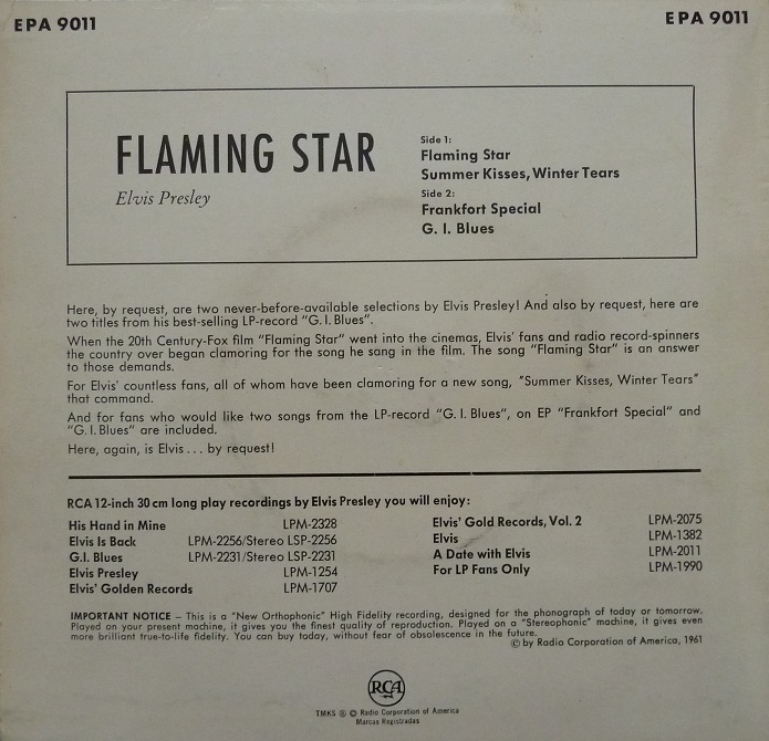 ELVIS BY REQUEST - FLAMING STAR Flamingrckseitezz6l8