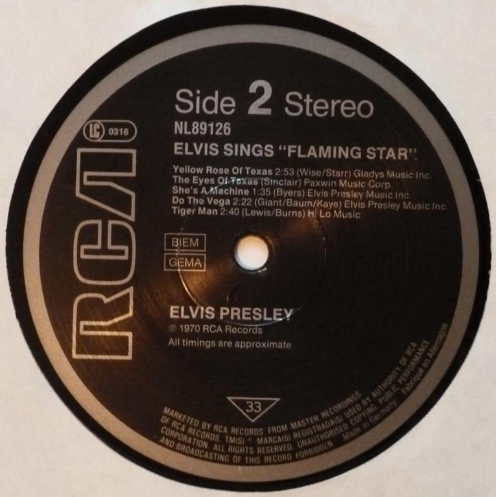 ELVIS sings FLAMING STAR Flamingstar84label27azvy