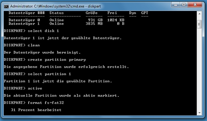 formatfsfat32ekrx - [Tutorial] USB-Stick bootbar machen