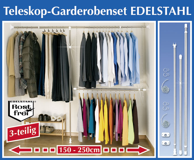 begehbarer kleiderschrank wandregal teleskop garderoben set edelstahl 150 250cm ebay. Black Bedroom Furniture Sets. Home Design Ideas