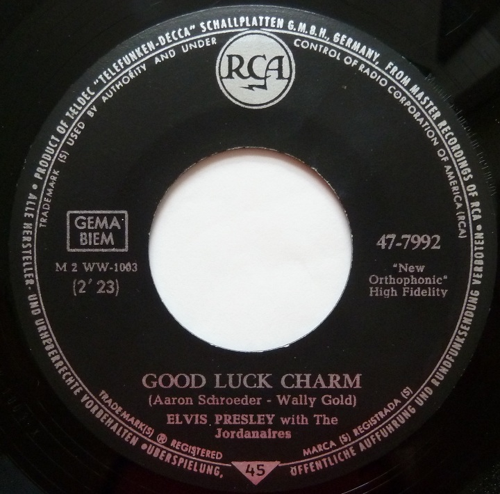 Good Luck Charm / Anything That´s Part Of You Goodluckside1hzzqt