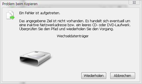 Fehlermeldung Windows 7