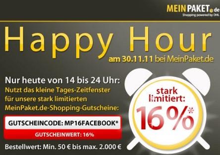 MeinPaket: 16% Rabatt Gutschein - nur heute von 14-24 Uhr!