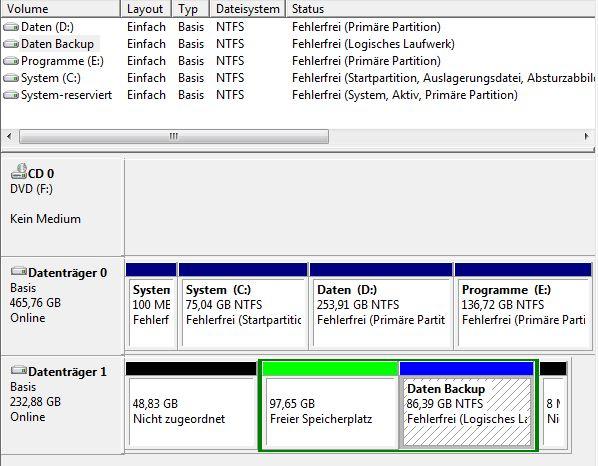 Datenträgerverwaltung grüner rahmen