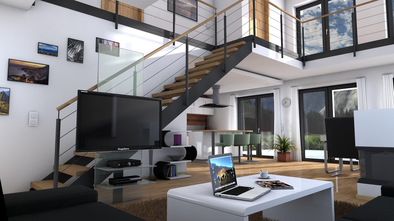 architektur rendering beleuchtung au en vs innen. Black Bedroom Furniture Sets. Home Design Ideas