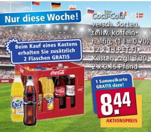 REWE: 7 Kisten Cola kaufen und nur 4 Stück bezahlen (33,76€ oder 40 Cent je Literflasche!) - oder heute 3x6er Pack für 9€ (40 Cent/Liter)