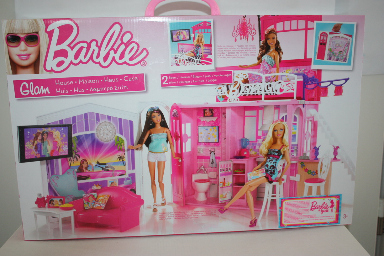 barbie haus zum aufklappen neu glam haus mattel zum mitnehmen ebay. Black Bedroom Furniture Sets. Home Design Ideas