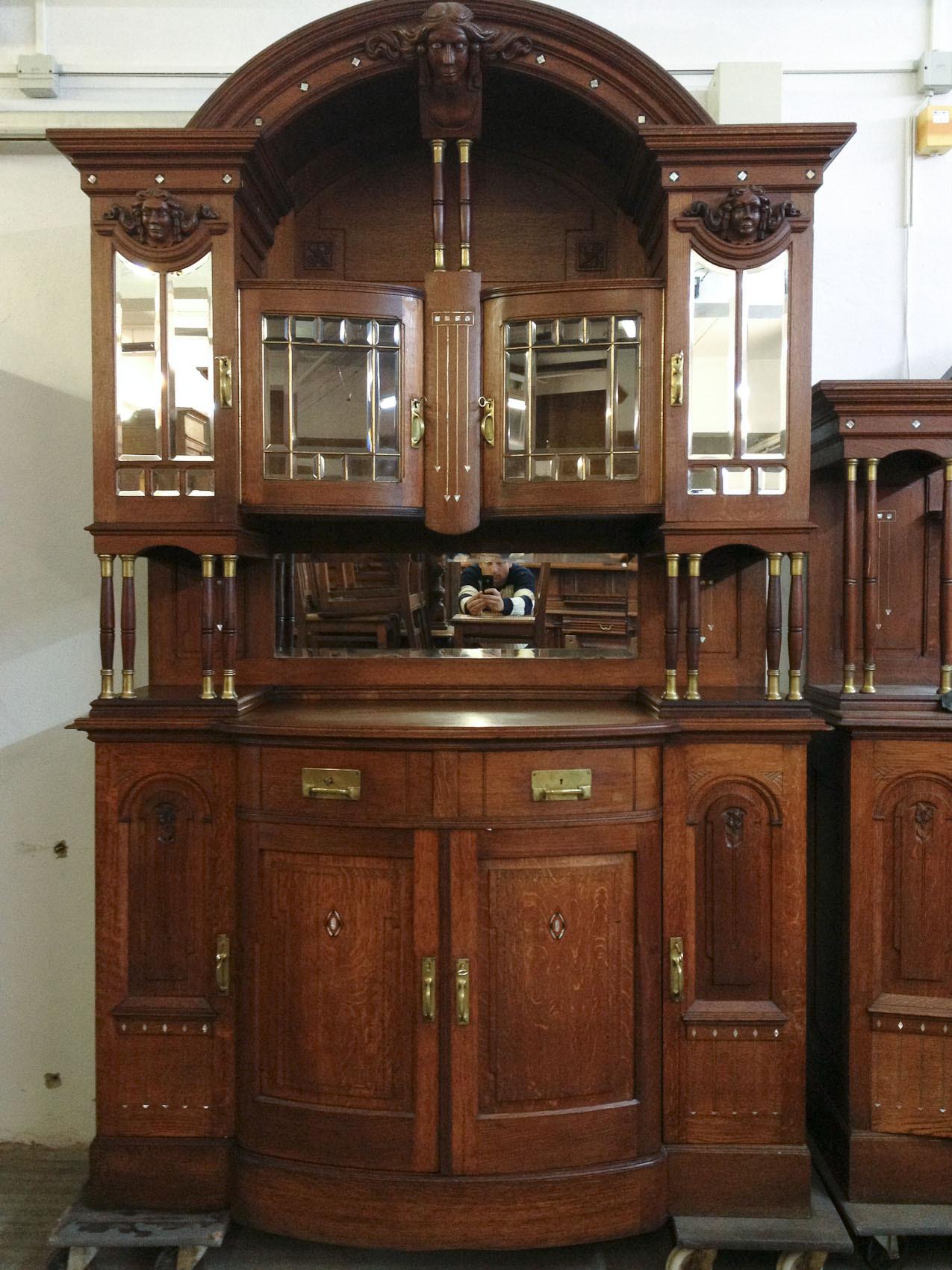 Antik esszimmer speisezimmer buffet anrichte spiegel tisch 6 st hle 1920 top ebay - Komplettes esszimmer ...