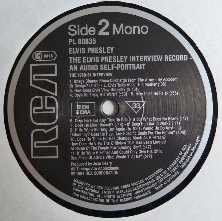 THE ELVIS PRESLEY INTERVIEW RECORD - AN AUDIO SELF-PORTRAIT Interview85side2p8ueb